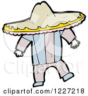 Clipart Of A Mexican Man Wearing A Sombrero Royalty Free Vector Illustration by lineartestpilot