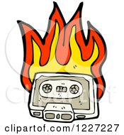 Clipart Of A Flaming Cassette Tape Royalty Free Vector Illustration by lineartestpilot
