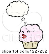 Clipart Of A Thinking Female Cupcake Royalty Free Vector Illustration by lineartestpilot