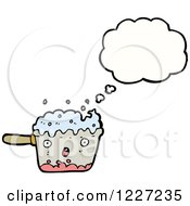 Clipart Of A Thinking Boiling Pot Royalty Free Vector Illustration by lineartestpilot