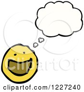 Clipart Of A Thinking Happy Emoticon Royalty Free Vector Illustration
