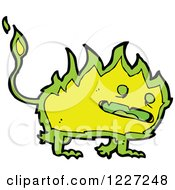 Clipart Of A Green Fire Monster Royalty Free Vector Illustration