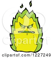 Clipart Of A Mad Green Fire Royalty Free Vector Illustration