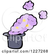 Clipart Of A Hat With Magic Smoke Royalty Free Vector Illustration
