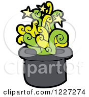 Clipart Of A Hat With Magic Green Smoke Royalty Free Vector Illustration