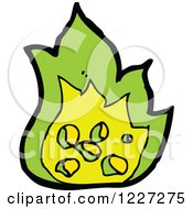 Clipart Of A Green Fire Royalty Free Vector Illustration