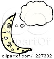 Clipart Of A Thinking Crescent Moon Royalty Free Vector Illustration