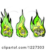 Clipart Of Green Fires Royalty Free Vector Illustration