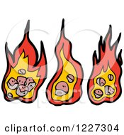 Clipart Of Fires Royalty Free Vector Illustration