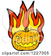 Clipart Of A Flaming Jackolantern Royalty Free Vector Illustration by lineartestpilot