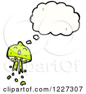 Clipart Of A Thinking Squirting Lime Royalty Free Vector Illustration by lineartestpilot