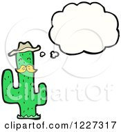 Clipart Of A Thinking Cactus Royalty Free Vector Illustration by lineartestpilot