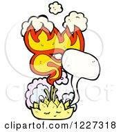 Clipart Of A Talking Lotus Flower With Flames Royalty Free Vector Illustration by lineartestpilot