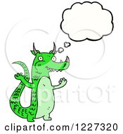 Clipart Of A Thinking Green Dragon Royalty Free Vector Illustration