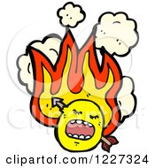 Clipart Of A Flamging Emoticon With An Arrow Royalty Free Vector Illustration by lineartestpilot