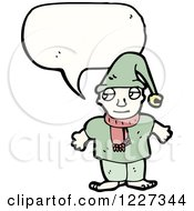 Clipart Of A Talking Christmas Elf Royalty Free Vector Illustration by lineartestpilot