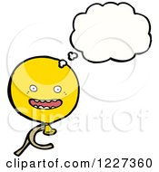 Clipart Of A Thinking Yellow Party Balloon Royalty Free Vector Illustration by lineartestpilot