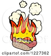 Clipart Of A Spicy Hot Dog With Flames Royalty Free Vector Illustration by lineartestpilot