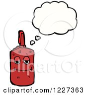 Clipart Of A Thinking Bottle Of Ketchup Royalty Free Vector Illustration