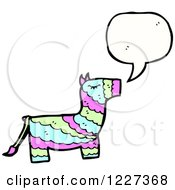 Clipart Of A Talking Donkey Pinata Royalty Free Vector Illustration by lineartestpilot