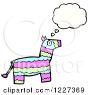 Clipart Of A Thinking Donkey Pinata Royalty Free Vector Illustration by lineartestpilot