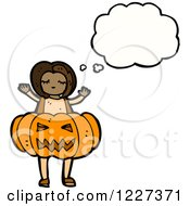 Clipart Of A Thinking Girl In A Pumpkin Costume Royalty Free Vector Illustration by lineartestpilot