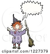 Clipart Of A Talking Witch With A Broom Royalty Free Vector Illustration by lineartestpilot