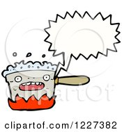 Clipart Of A Talking Boiling Pot Royalty Free Vector Illustration by lineartestpilot