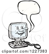 Clipart Of A Talking Desktop Computer Royalty Free Vector Illustration by lineartestpilot