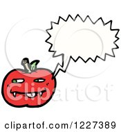 Clipart Of A Talking Apple With Fangs Royalty Free Vector Illustration
