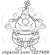 Clipart Of A Black And White Loving Female Forest Sprite Wanting A Hug Royalty Free Vector Illustration