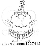 Clipart Of A Black And White Careless Shrugging Male Forest Sprite Royalty Free Vector Illustration