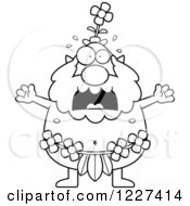 Clipart Of A Black And White Screaming Male Forest Sprite Royalty Free Vector Illustration