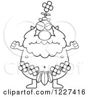 Clipart Of A Black And White Mad Male Forest Sprite Royalty Free Vector Illustration