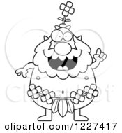 Clipart Of A Black And White Smart Male Forest Sprite With An Idea Royalty Free Vector Illustration