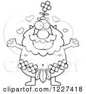 Clipart Of A Black And White Loving Male Forest Sprite Wanting A Hug Royalty Free Vector Illustration