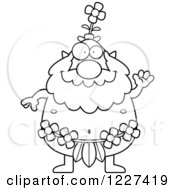 Clipart Of A Black And White Waving Male Forest Sprite Royalty Free Vector Illustration