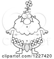 Clipart Of A Black And White Surprised Male Forest Sprite Royalty Free Vector Illustration