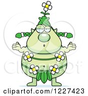 Clipart Of A Careless Shrugging Female Forest Sprite Royalty Free Vector Illustration