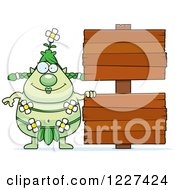 Clipart Of A Female Forest Sprite By Wood Signs Royalty Free Vector Illustration
