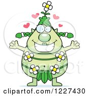Clipart Of A Loving Female Forest Sprite Wanting A Hug Royalty Free Vector Illustration by Cory Thoman