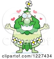 Clipart Of A Loving Male Forest Sprite Wanting A Hug Royalty Free Vector Illustration by Cory Thoman