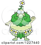 Clipart Of A Waving Male Forest Sprite Royalty Free Vector Illustration by Cory Thoman