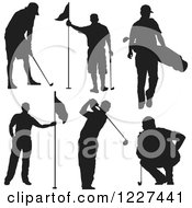 Clipart Of A Silhouetted Man In Different Golf Poses Royalty Free Vector Illustration by Andy Nortnik