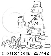 Clipart Of An Outlined Man Splitting Wood Royalty Free Vector Illustration