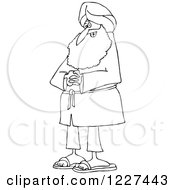 Clipart Of An Outlined Happy Sikh With Clasped Hands Royalty Free Vector Illustration