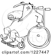 Clipart Of An Outlined Injured Accident Prone Man In A Wheelchair Royalty Free Vector Illustration