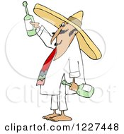 Clipart Of A Mexican Man Wearing A Sombrero And Toasting Royalty Free Vector Illustration by Dennis Cox