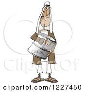 Poster, Art Print Of Arab Man Holding A Crude Oil Barrel