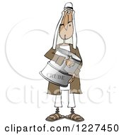 Clipart Of An Arab Man Holding A Crude Oil Barrel Royalty Free Illustration by djart